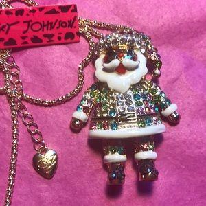 Betsey Johnson colorful Santa necklace/ Pin
